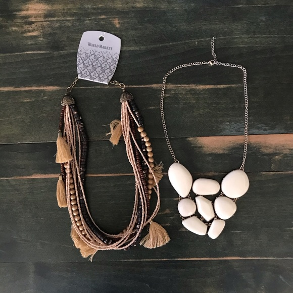 Boho Tassel Necklace and Cream Necklace